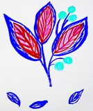 Cute hand-Drawn watercolor flower stem with leaves and berries. Red and purple, spring flowers, Botanical garden plants