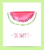 Cute hand drawn watercolor watermelon slice Stock Photo
