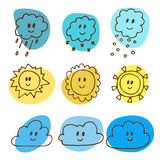 Cute hand drawn weather icons Royalty Free Stock Photo