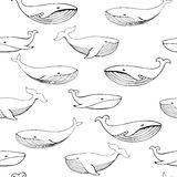 Cute hand drawn whales. Monochrome Vector seamless pattern. stock illustration