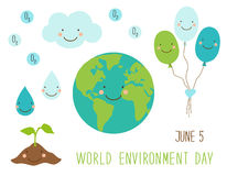 Cute hand drawn World Environment Day card with smiling character of the planet Earth Royalty Free Stock Image