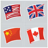 Cute Hand Drawn World Flag Set Royalty Free Stock Images