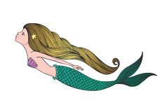 Cute hand drawn young mermaid. Beautiful cartoon character mermaid girl with gold hair isolated on white background. Vector illustration stock illustration