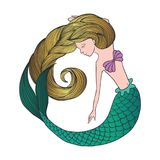 Cute hand drawn young mermaid. Beautiful cartoon character mermaid girl with gold hair isolated on white background. Vector illustration royalty free illustration