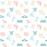 Cute hand drawn zodiac signs seamless pattern background illustration Stock Photos