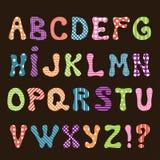 Cute hand made alphabet for kids with textil patterns. Vector illustration vector illustration