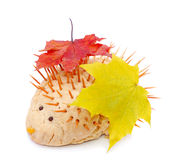 Cute hand-made hedgehog with autumn leaves Stock Photography