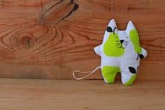 Cute hand made Stuffed Cat, funny animals stock photos