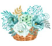 Hand painted watercolor bouquet with mint gold peonies flowers. Cute hand painted arrangement of watercolor mint gold flowers and plants. Save the date template Stock Photo