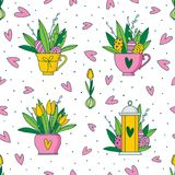 Cute hand painted easter seamless pattern. Easter eggs and flowers. Made in vector Royalty Free Stock Photography