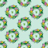 Cute hand painted easter seamless pattern. Easter eggs and flowers. Made in vector Royalty Free Stock Photo