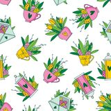 Cute hand painted easter seamless pattern. Easter eggs and flowers. Made in vector Stock Photo