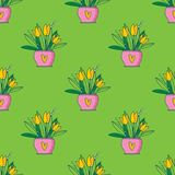 Cute hand painted easter seamless pattern. Easter eggs and flowers. Made in vector Royalty Free Stock Photos