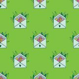 Cute hand painted easter seamless pattern. Easter eggs and flowers. Made in vector Stock Photography
