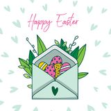 Cute hand painted greetings easter card, hand painted. Made in vector Royalty Free Stock Photography