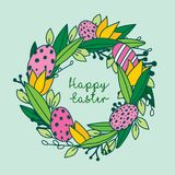 Cute hand painted greetings easter card, hand painted. Made in vector Stock Images