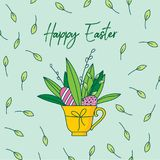 Cute hand painted easter seamless pattern. Easter eggs and flowers. Cute hand painted greetings easter card, hand painted, made in vector Royalty Free Stock Images