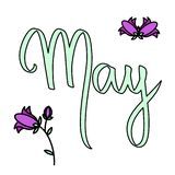 Cute hand written illustration. Vector month May illustration campanula. Hand drawing violet bluebells. Spring art style lettering stock illustration
