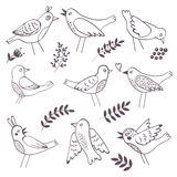 Cute handdrawn birds Stock Images