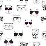 Cute Handdrawn Cat Seamless Pattern Vector Illustration Stock Photos