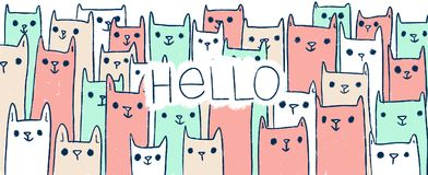 Cute handdrawn doodle illustration cats with text HELLO. Illustration with many cats. You can use it as a greeting card or a background for your website Stock Photos