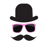 Cute Handdrawn Glasses, Hat and a Mustache Vector Stock Images