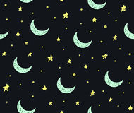 Cute handdrawn stars and moon seamless vector pattern Royalty Free Stock Photo