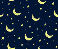 Cute handdrawn stars and moon vector pattern dark blue Royalty Free Stock Photography