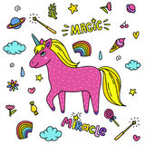 Cute handdrawn unicorn. Pink unicorn and magic stuff. Miracle and magic creature. Stock Photos