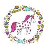 Cute handdrawn unicorn. Unicorn and magic stuff. Miracle and magic creature. Vector illustration royalty free illustration