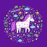 Cute handdrawn unicorn. Unicorn and magic stuff. Miracle and magic creature. Vector illustration vector illustration