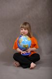 Cute Handicapped Girl with Globe Stock Photos