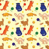 Seamless hand drawn pattern for cat lovers and kids stock illustration