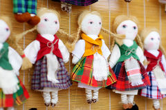 Cute handmade ragdoll dolls sold on Easter market in Vilnius, Lithuania Royalty Free Stock Photography
