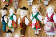 Cute handmade ragdoll dolls sold on Easter market in Vilnius, Lithuania Royalty Free Stock Photo