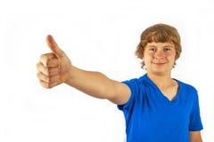 Cute handsome boy poses in studio Stock Photos
