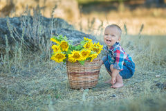 Cute handsome boy wearing jeans close to basket with sunflowers and stones. Royalty Free Stock Photos
