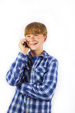 Cute handsome young boy speaking Stock Images