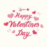Vector handwritten romantic Happy Valentines Day calligraphy banner decorated floral pink ornate hearts. Cute handwritten romantic Happy Valentines Day vector illustration