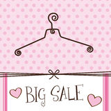 Cute hanger. With big sale text over pink background. vector Royalty Free Stock Photo