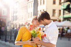 Cute hansome couple on date stock photo