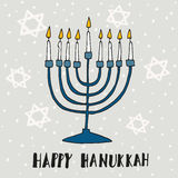 Cute Hanukkah greeting card, invitation with hand drawn menorah,  Stock Photo