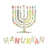Cute Hanukkah greeting card, invitation. With hand drawn menorah -candelabra and lettering, vector illustration background