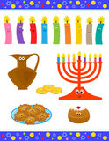 Cute Hanukkah Symbols Stock Images