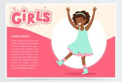 Cute happy african girl smiling, girls banner flat vector element for website or mobile app Royalty Free Stock Images