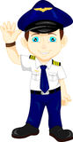 Cute happy airplane pilot waving Royalty Free Stock Photos