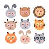 Cute happy animals collection. Happy Valentine`s day postcard. Vector illustration stock illustration