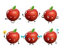 Cute happy apple set collection.  Cartoon character illustration design with hand drawing graphic elements. Isolated on white back