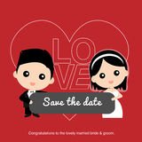 Cute happy Asian groom and bride Royalty Free Stock Photography