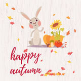 Cute happy autumn greeting card Royalty Free Stock Photography